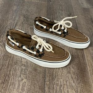 Vans brown canvas checkered boat shoes sneakers